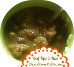 Beef Tips with Rice in a Slow Cooker or Stove Top