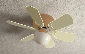 A diy ceiling fan makeover with a dot of color dealsfrommsdo the brownish color was painted over with glidden palest lavendar the built in brush was ideal to paint the base of the ceiling fan because of the small aloadofball Gallery