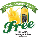 Free 1/2 Gallon of Hiland Orange Juice Coupon