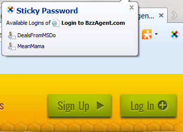 Sticky Password Login Popup