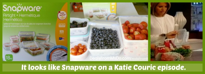 Before & After Snapware Airtight Plastic Food Containers on Katie Couric Show