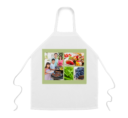 Personalized Collage Apron - This Personalized Apron Protects The Chef's Clothing From Spills and Splatters With Its Stain-Resistant, 100% Polyester Fabric. It's Easy To Add Your Horizontal Or Vertical Photo To Personalize This Apron.