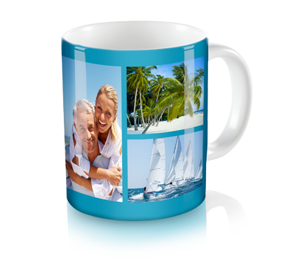 Personalized Collage Mug - Enjoy Your Morning Coffee With Up To 15 Of Your Favorite Photos on a customized personalize photo mug. With the ability to add up to 15 photos, a title and choose from 14 background colors, you can truly make this 11 oz. custom photo mug your own!