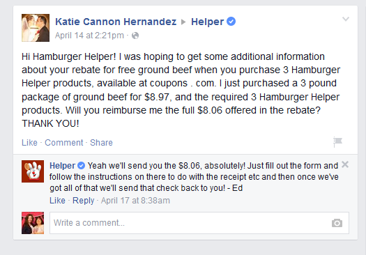 Hamburger Helper on Facebook